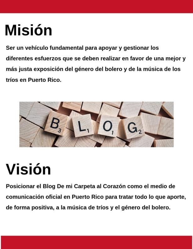 De mi carpeta al corazón Mision y Vision