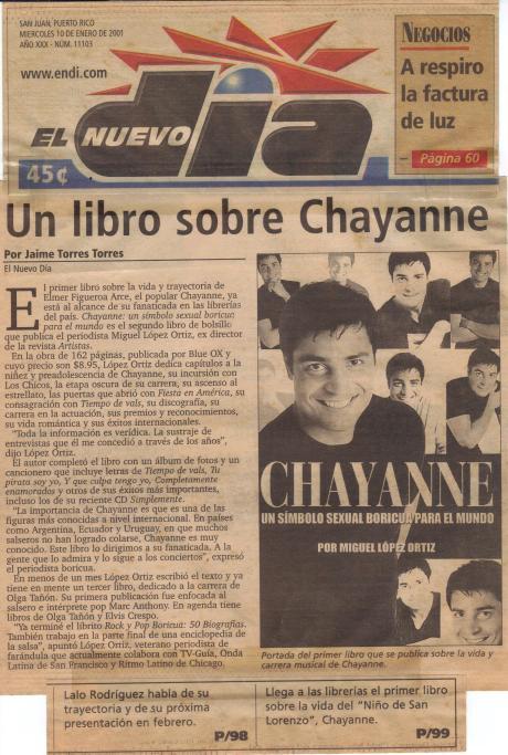 LIBRO SOBRE CHAYANNE (2000).